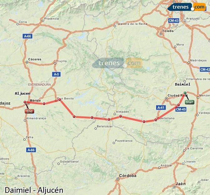 Ingrandisci la mappa Treni Daimiel Aljucén