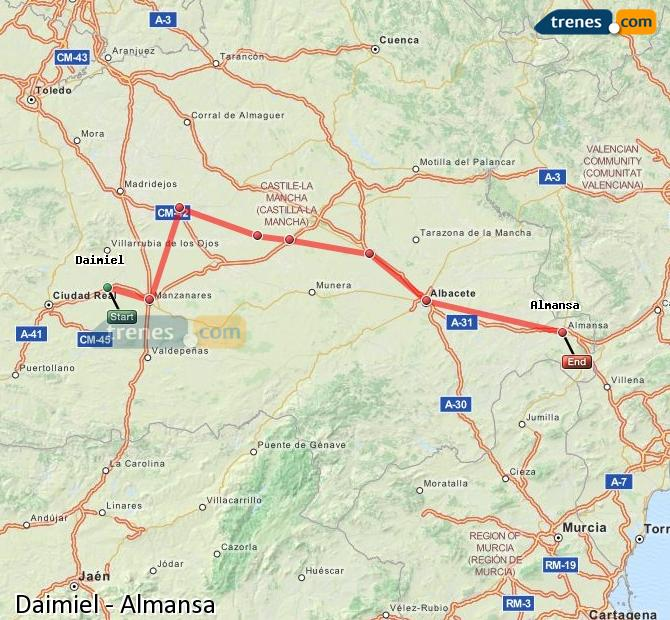Enlarge map Trains Daimiel to Almansa