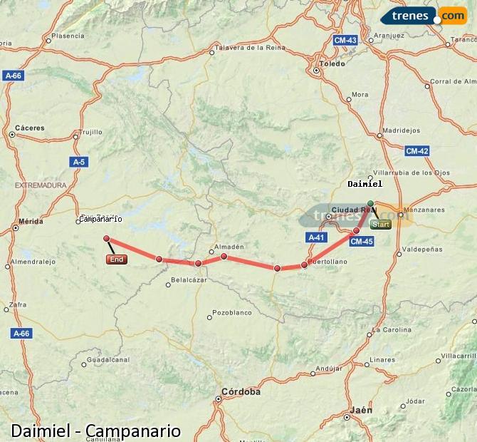 Ampliar mapa Trenes Daimiel Campanario