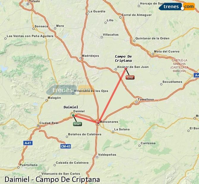 Ingrandisci la mappa Treni Daimiel Campo De Criptana