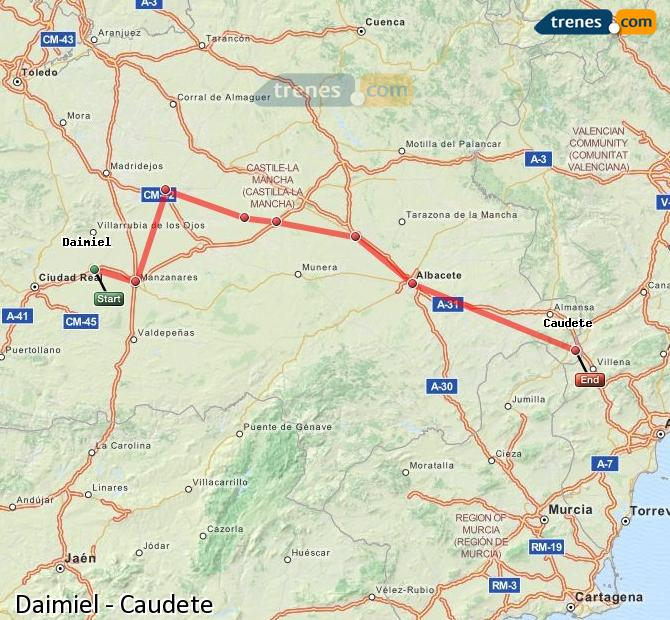 Ingrandisci la mappa Treni Daimiel Caudete