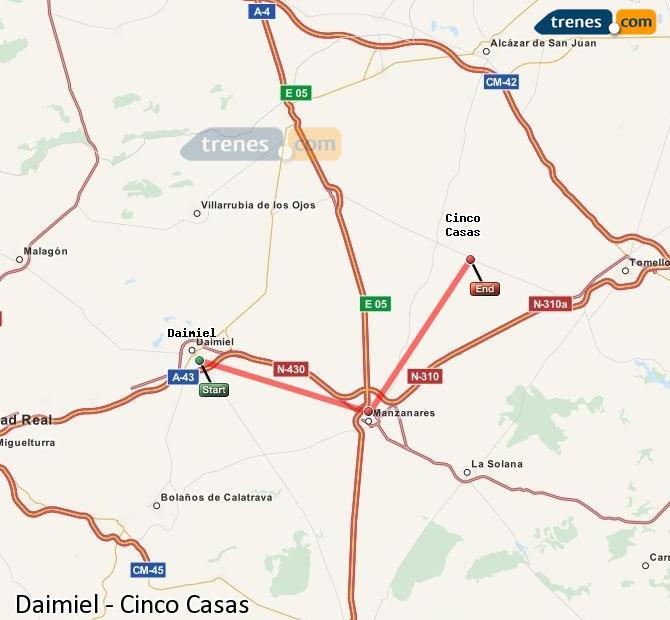 Ingrandisci la mappa Treni Daimiel Cinco Casas