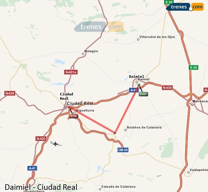 Enlarge map Trains Daimiel to Ciudad Real