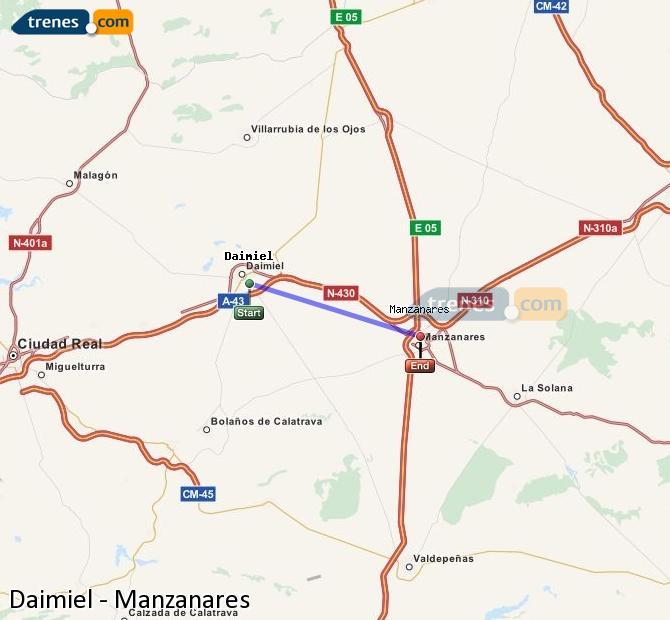 Enlarge map Trains Daimiel to Manzanares