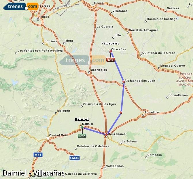 Ingrandisci la mappa Treni Daimiel Villacañas