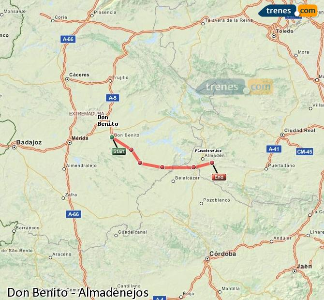 Ampliar mapa Trenes Don Benito Almadenejos