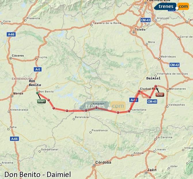 Ingrandisci la mappa Treni Don Benito Daimiel