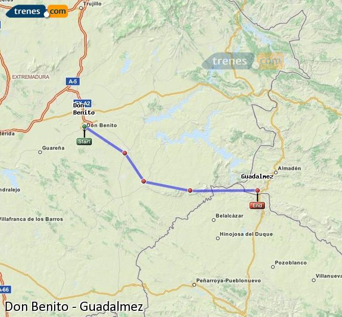 Ingrandisci la mappa Treni Don Benito Guadalmez