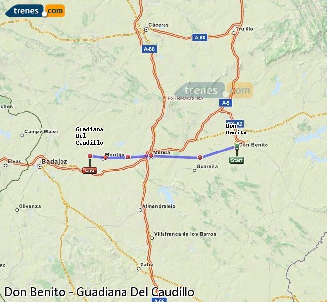 Ingrandisci la mappa Treni Don Benito Guadiana Del Caudillo