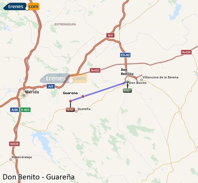 Ingrandisci la mappa Treni Don Benito Guareña