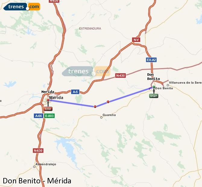 Agrandir la carte Trains Don Benito Mérida