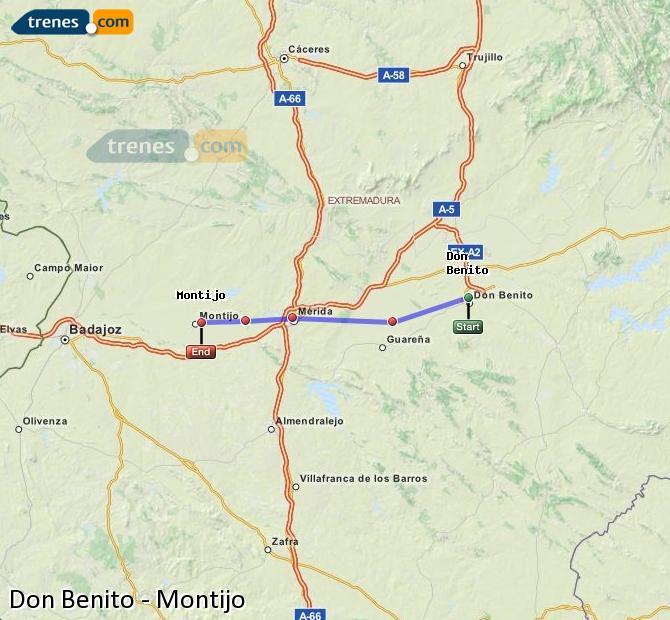Ampliar mapa Trenes Don Benito Montijo