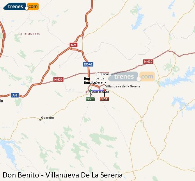 Agrandir la carte Trains Don Benito Villanueva De La Serena