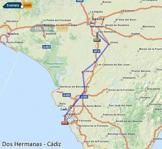 Enlarge map Trains Dos Hermanas to Cadiz