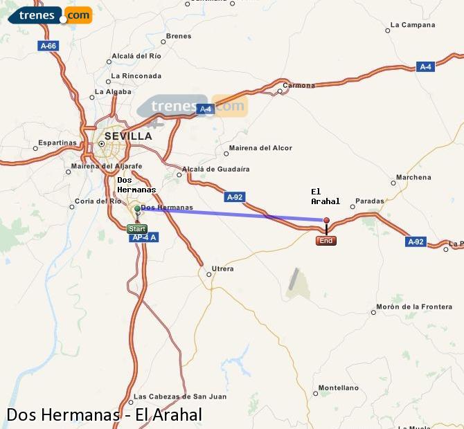 Enlarge map Trains Dos Hermanas to El Arahal