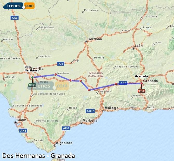 Ampliar mapa Trenes Dos Hermanas Granada