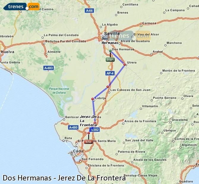 Enlarge map Trains Dos Hermanas to Jerez De La Frontera
