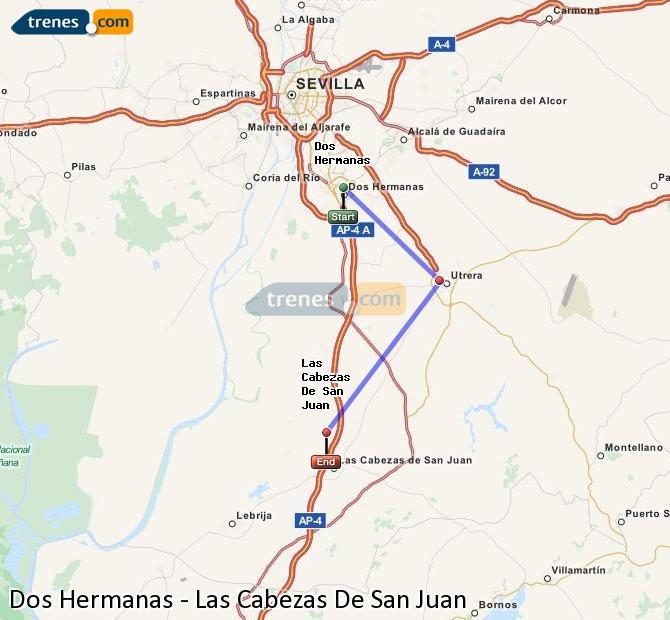 Enlarge map Trains Dos Hermanas to Las Cabezas De San Juan
