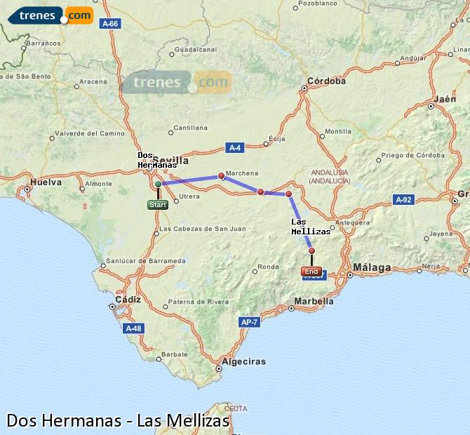Enlarge map Trains Dos Hermanas to Las Mellizas