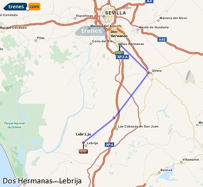 Enlarge map Trains Dos Hermanas to Lebrija