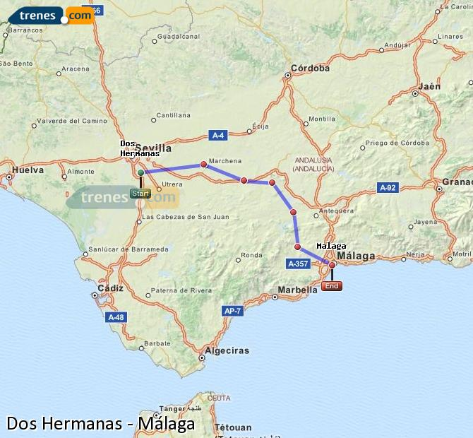 Enlarge map Trains Dos Hermanas to Malaga