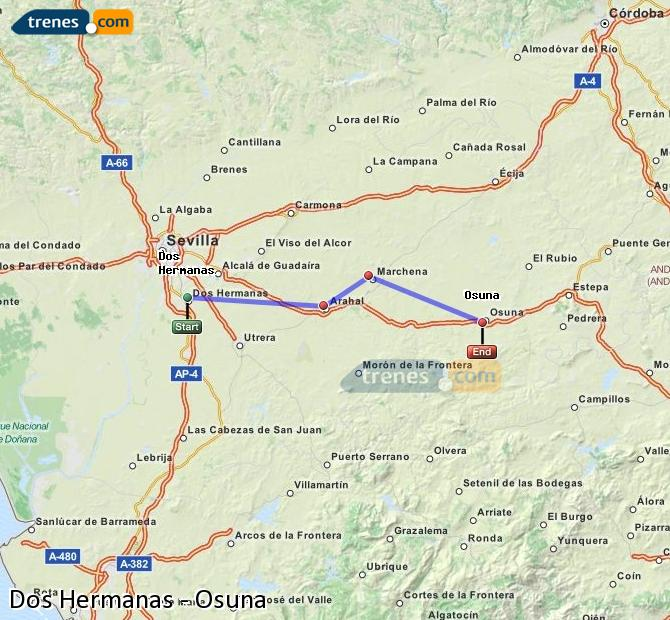 Enlarge map Trains Dos Hermanas to Osuna