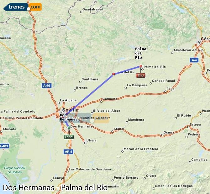 Enlarge map Trains Dos Hermanas to Palma del Río