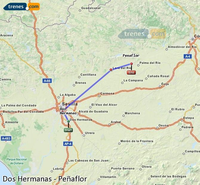 Ampliar mapa Trenes Dos Hermanas Peñaflor
