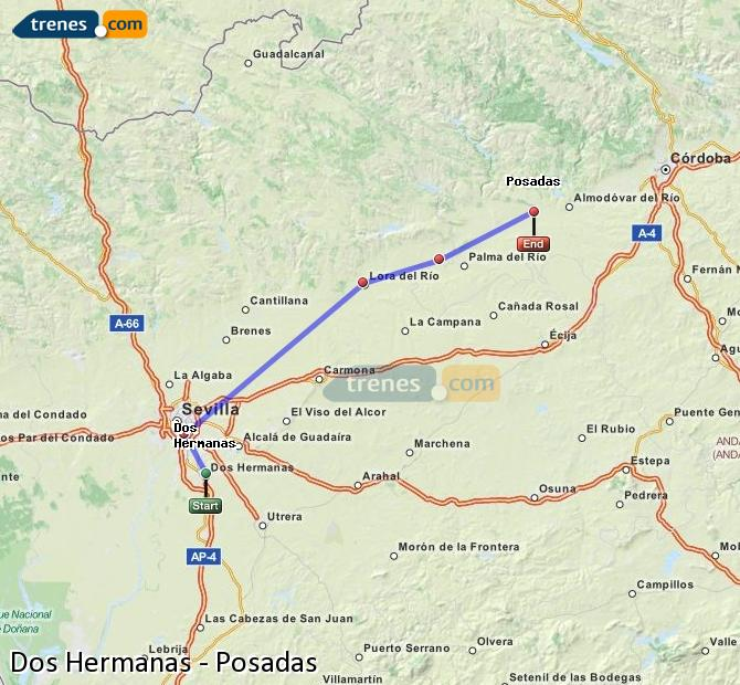 Enlarge map Trains Dos Hermanas to Posadas