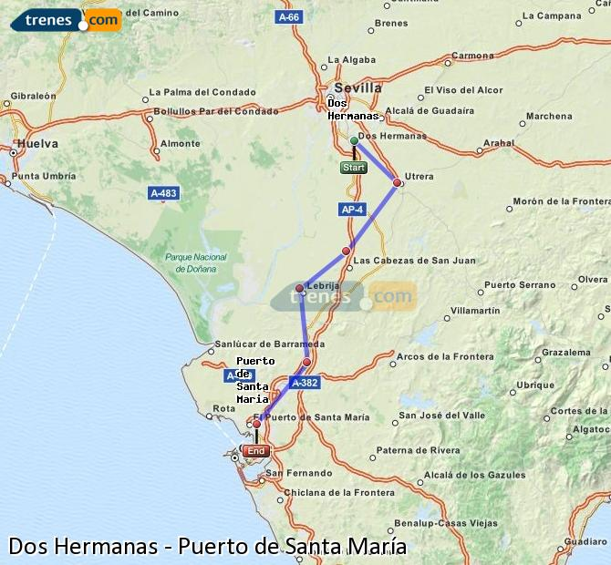 Enlarge map Trains Dos Hermanas to Port of Santa Maria