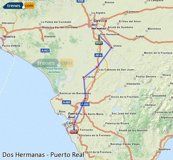 Agrandir la carte Trains Dos Hermanas Puerto Real