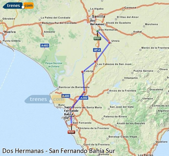 Enlarge map Trains Dos Hermanas to San Fernando South Bay
