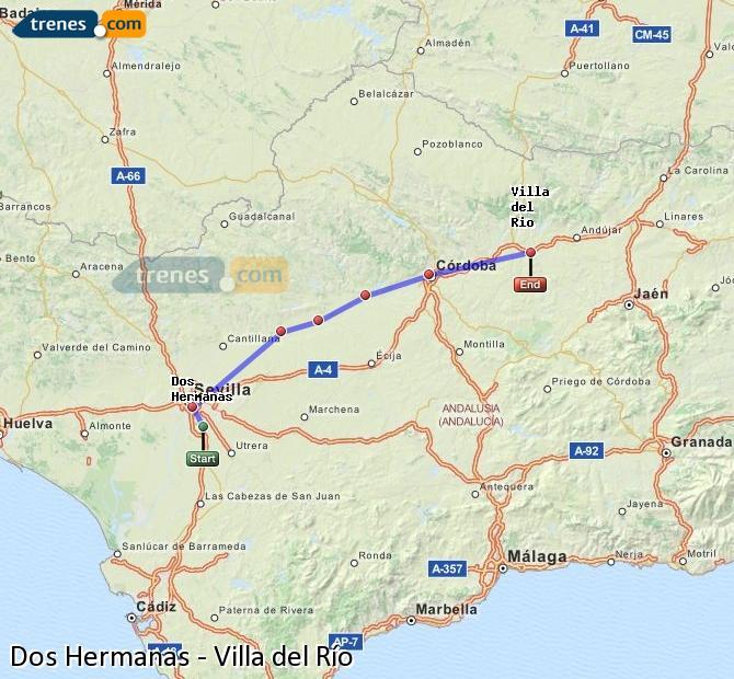Agrandir la carte Trains Dos Hermanas Villa del Río