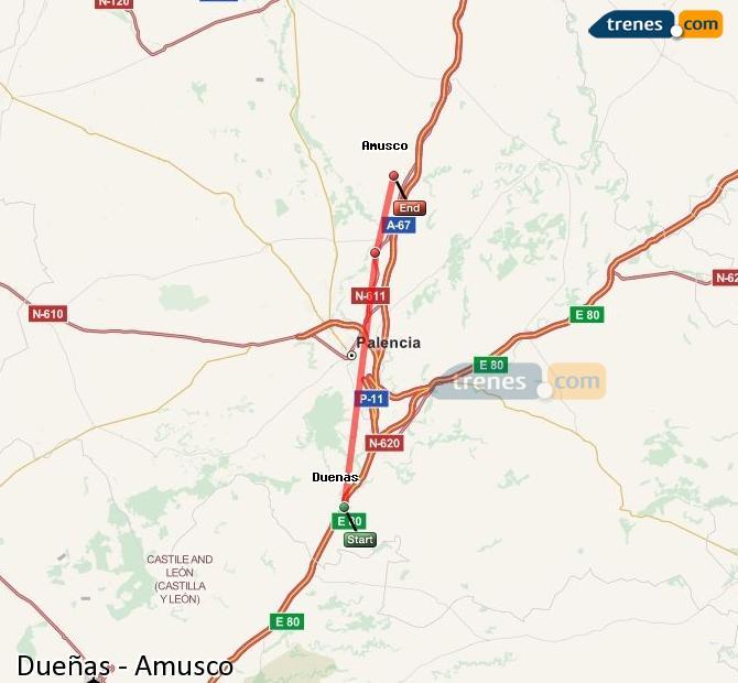 Ingrandisci la mappa Treni Dueñas Amusco