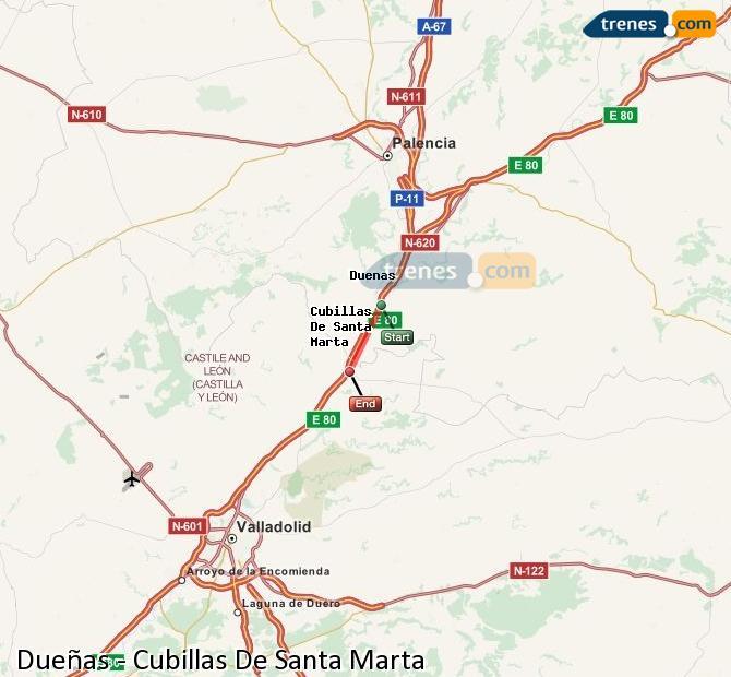 Enlarge map Trains Dueñas to Cubillas De Santa Marta