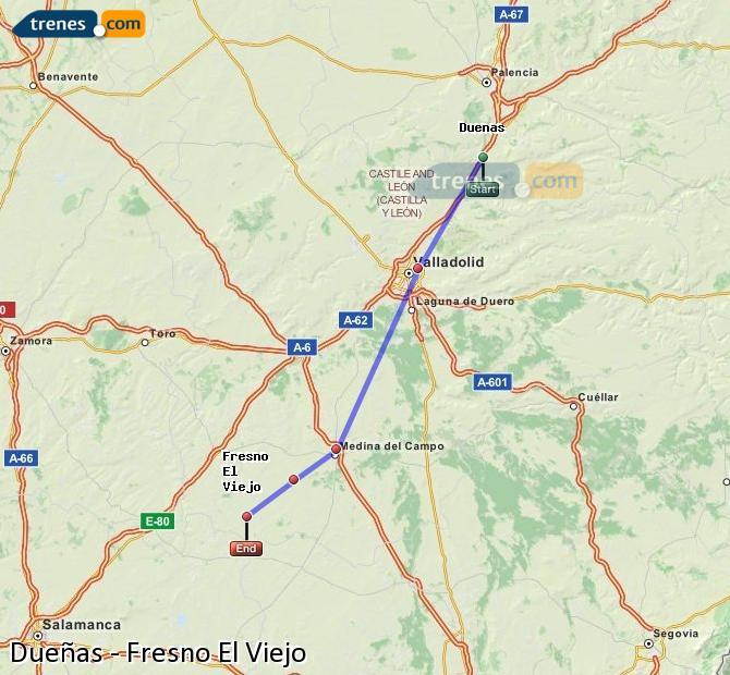 Ingrandisci la mappa Treni Dueñas Fresno El Viejo