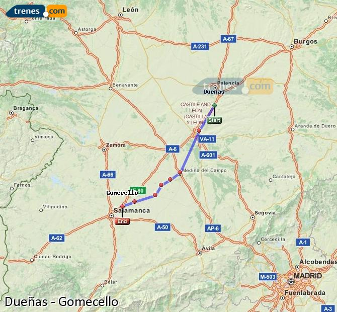 Enlarge map Trains Dueñas to Gomecello