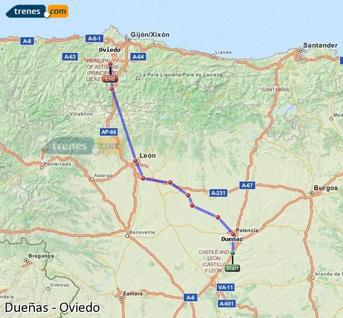 Enlarge map Trains Dueñas to Oviedo