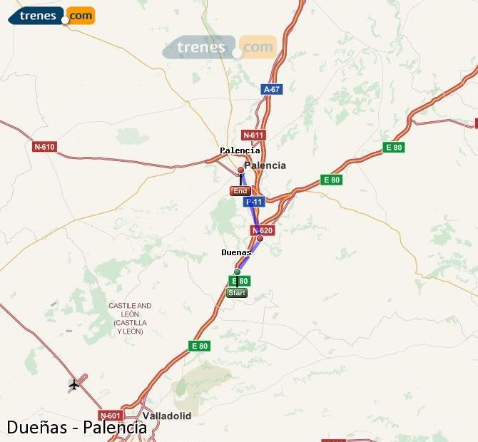 Enlarge map Trains Dueñas to Palencia
