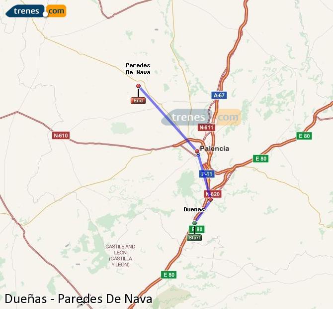 Karte vergrößern Züge Dueñas Paredes De Nava