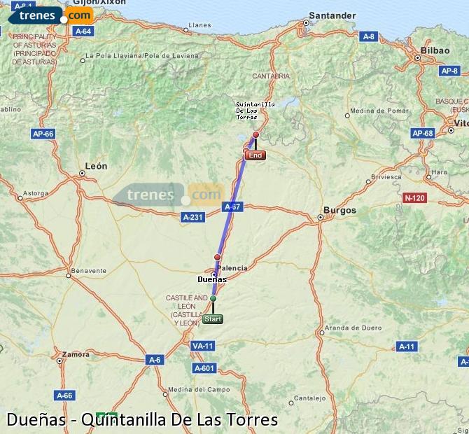 Enlarge map Trains Dueñas to Quintanilla De Las Torres