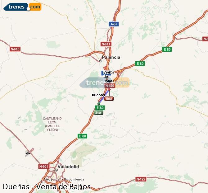 Karte vergrößern Züge Dueñas Venta de Baños