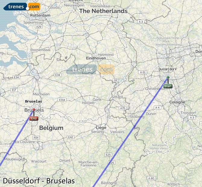 Agrandir la carte Trains Düsseldorf Bruxelles