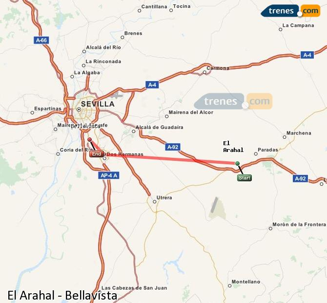 Enlarge map Trains El Arahal to Bellavista