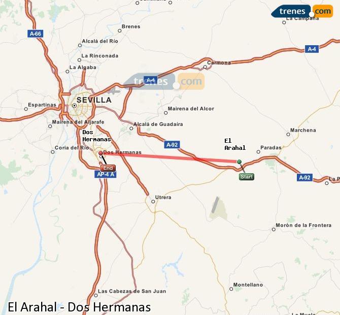 Agrandir la carte Trains El Arahal Dos Hermanas