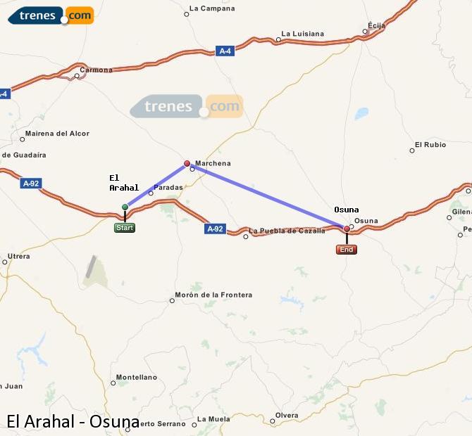 Enlarge map Trains El Arahal to Osuna