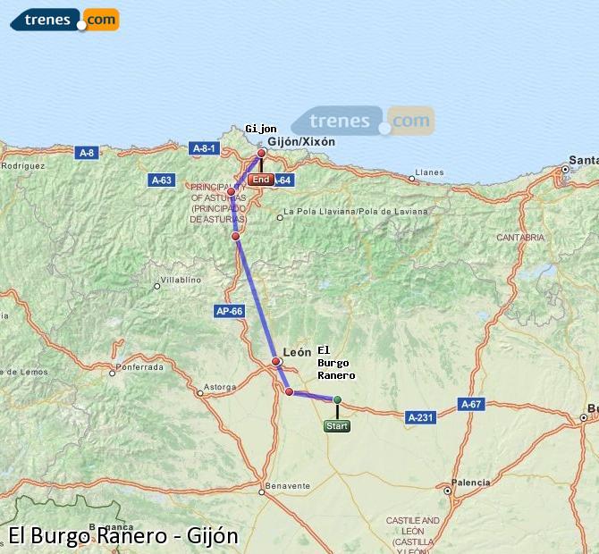 Ingrandisci la mappa Treni El Burgo Ranero Gijón