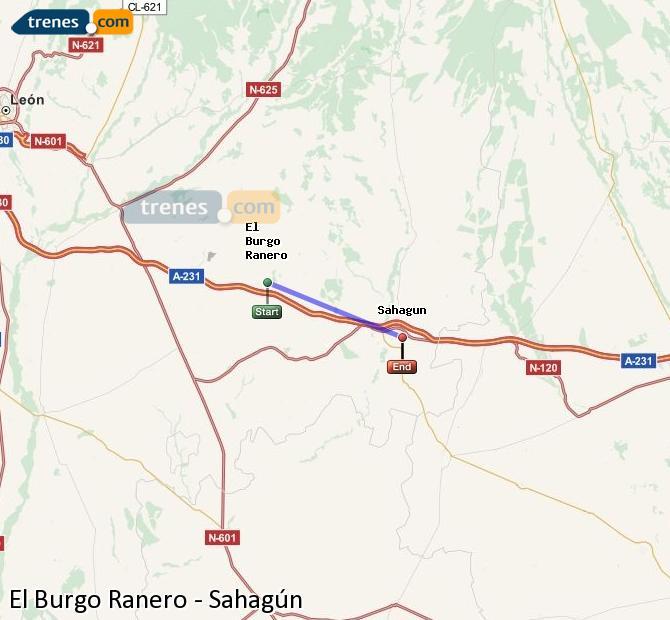 Karte vergrößern Züge El Burgo Ranero Sahagún