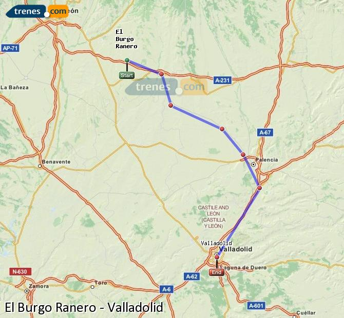 Ingrandisci la mappa Treni El Burgo Ranero Valladolid