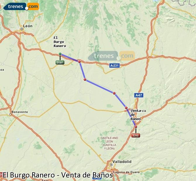Ingrandisci la mappa Treni El Burgo Ranero Venta de Baños